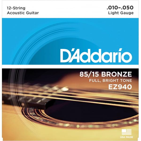 Encordoamento D'addario EZ940 .010 violão 12 cordas